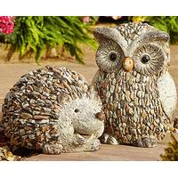 Stone Owl Garden Ornaments Pebble garden decorative hedgehog and owl ornaments buy both save 5 add some countryside charm to your outside space with these appealing garden ornaments made in a weather resistant polyresin that looks like stone workwithnaturefo